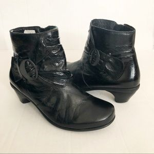 NAOT Black Leather Ankle Bootie Boot Buckle Detail
